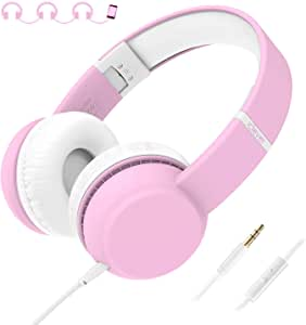iClever HS15 Kids Headphones - Wired Headphones for Kids, Stereo Sound, Adjustable Metal Headband, Foldable, Portable, Tangle-Free Wires, 94dB Volume Limiting - Childrens Headphones Over Ear, Pink