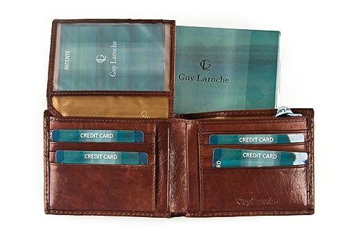 Guy Laroche Cartera Hombre Piel Verdadera Cebada 12 Tarjetas De Crédito + Solapa A412: Amazon.es: Zapatos y complementos