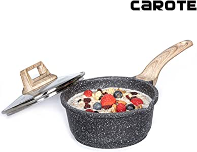 (16cm) - Carote 16cm/0.9l Milk Saucepan PFOA Free Stone-Derived Non-Stick Coating from Switzerland, Bakelite Handle with Wood Effect (Soft Touch) with Lid, Suitable for All Stove Including Induction
