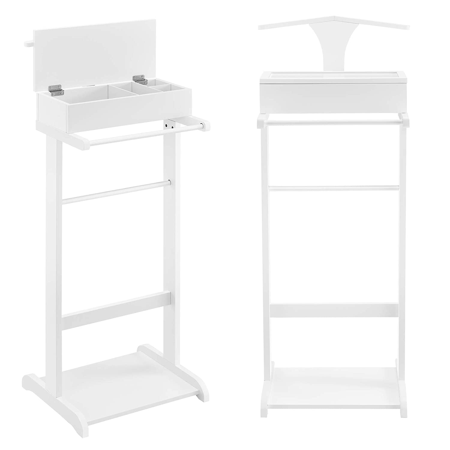 [en.casa] Suit stand Standing Clothes Valet 43,5x34,5x110cm White with Box  Storage