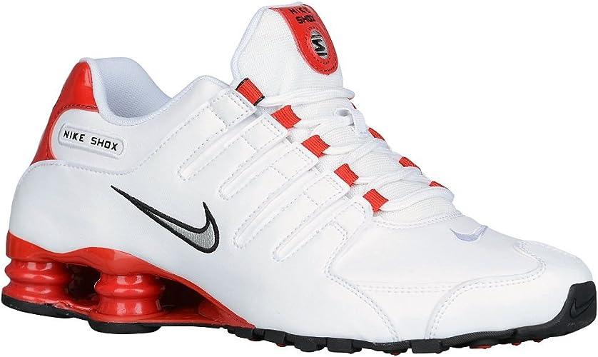 Nike Men's Shox NZ Shoe White/Metallic Silver/University Red Size 14 M US