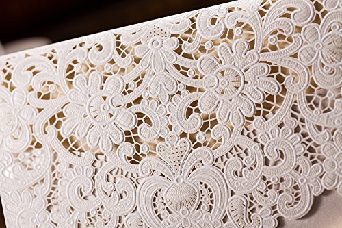 Doris Home 100pcs Ivory Horizontal Laser Cut Wedding Invitation with Hollow Flora Favors (pack of 100pcs) by Doris Home (Image #5)