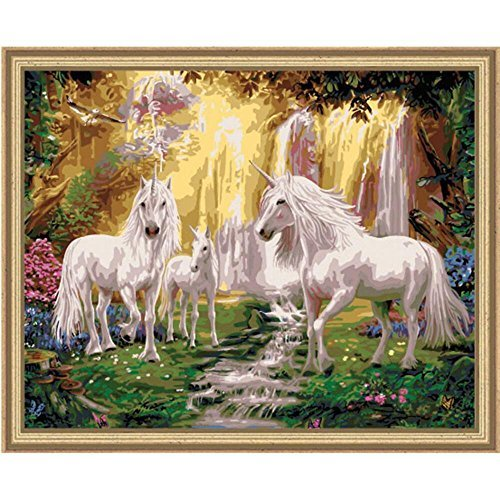Plaid Creates Plaid Paint by Number Kit, Waterfall Glade Unicorns, 22060, Size 16 20-Inch by Plaid Creates