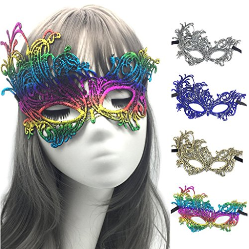 WJood 4 Packs Lace Bronzing Color Masquerade Mask Venetian Eyemask Women Sexy Eye Mask for Halloween CarnivalParty Costume Ball