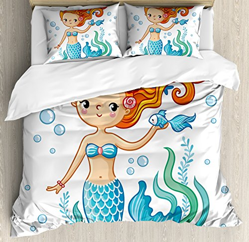 Cute Duvet Cover Set King Size by Lunarable, Swimming Cartoon Mermaid Fantastic Oceanic Underwater Life Magic Fairy Character, Decorative 3 Piece Bedding Set with 2 Pillow Shams, Orange Blue - Girls Nude Dorm