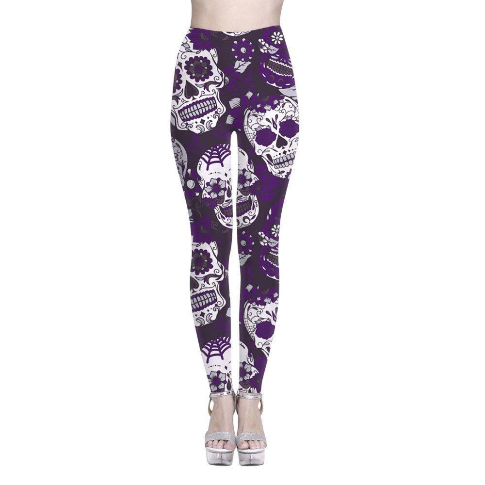 Women Yoga Pant❤️Foncircle Ladies High Waist Skull Printed Fitness Leggings