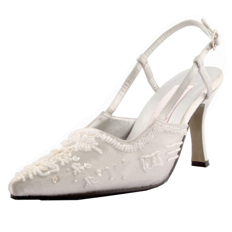 ZHRUI MZ586 Main Femmes Sequin Satin Mariage De Mariée Soirée De Soirée Formelle Pompes Chaussures (Couleuré   Ivory-6.5cm Heel, Taille   8.5 UK)