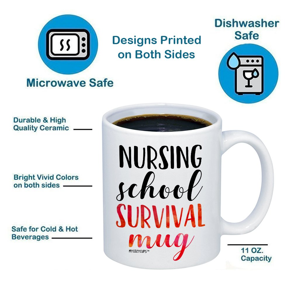 MyCozyCups Nursing Student Gifts - Nursing School Survival Mug - Funny Registered Nurse Assistant, Practitioner, RN, 11oz Coffee Cup For Women, Best Friend, Daughter, Mom, Wife - Graduation Present by MyCozyCups (Image #6)