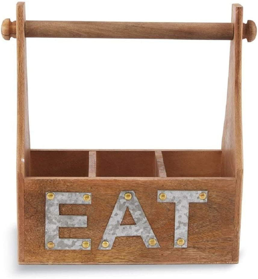 Mud Pie Eat Towel and Utensil Wooden Caddy