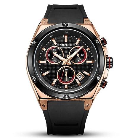 Megir Relojes para Hombre de primeras Marcas de Lujo Banda de Silicona Reloj de Oro Hombres