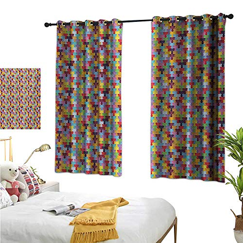 (S Brave Sky Thermal Insulating Blackout Curtain,Colorful,63