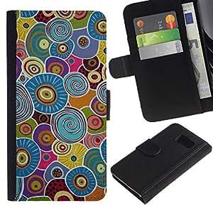 LASTONE PHONE CASE / Lujo Billetera de Cuero Caso del tirón Titular de la tarjeta Flip Carcasa Funda para Samsung Galaxy S6 SM-G920 / Cells Biology Pattern Blue Green