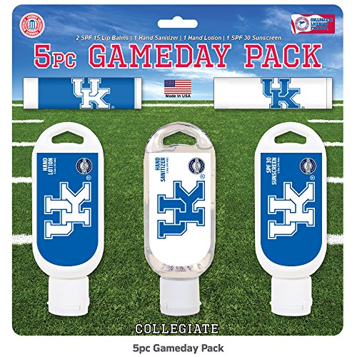Worthy Promotional NCAA Kentucky Wildcats 5-Piece Game Day Pack with 2 Lip Balms, 1 Hand Lotion, 1 Hand Sanitizer, 1 SPF 30 Sport Sunscreen (Wildcats Ncaa Christmas Stocking)