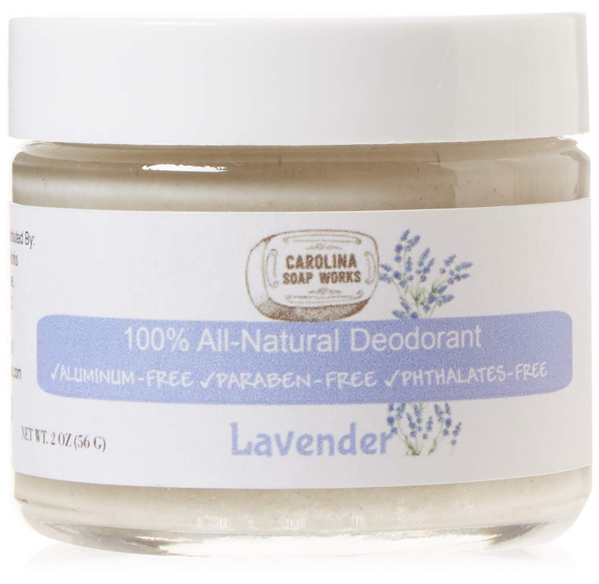 BEST All Natural Lavender Deodorant, by Carolina Soap Works | 2 Ounce  Jar/60 Day Supply | NO