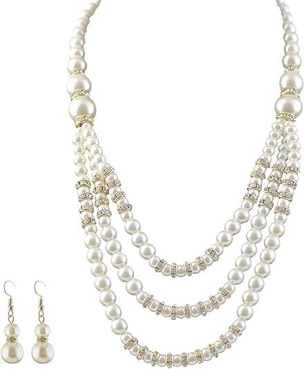 Plaqué Or Strass Fausses Perles Collier Boucles d/'oreilles bijoux Sets for Women
