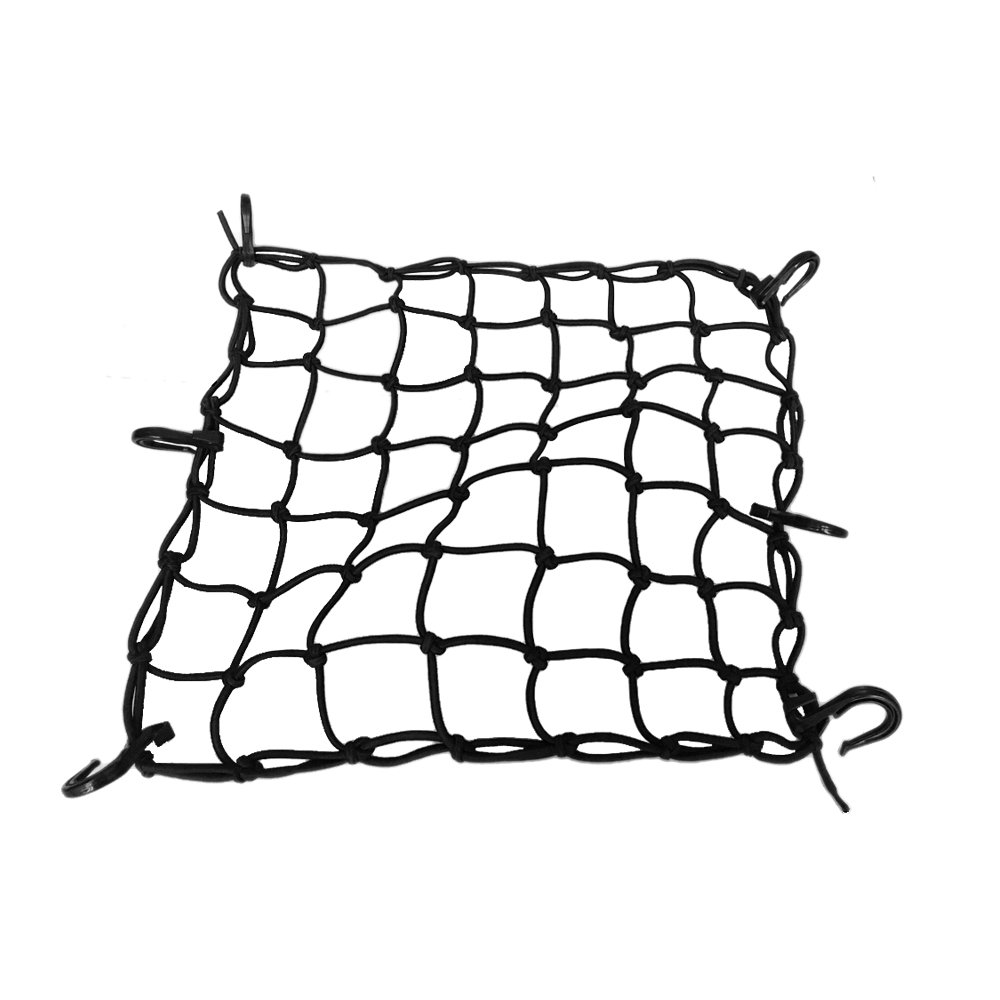 ZMFLL 15x15 Motorcycle Cargo nets Featuring 6 Adjustable Hooks /& Tight 2x2 Mesh Black Motorcycle Net 15x15 Stretch up to 30x30 Cargo Net