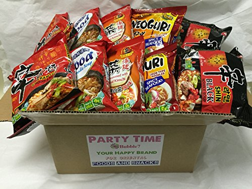 NEW Korean Hit Ramen Variety Pack ,Paldo, Nongshim shin ramyun,Cup Noodle Soup, Tempura Udon Instant Noodes Party Time Package. (Nongshim Party Time 10 packs Mix) (Instant Ramen)