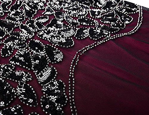 Robe De Soirée Prettyguide Années 1920 Femmes Sequin Noir De Bal Maxi Gatsby Cultivé Bordeaux Ourlet Sirène