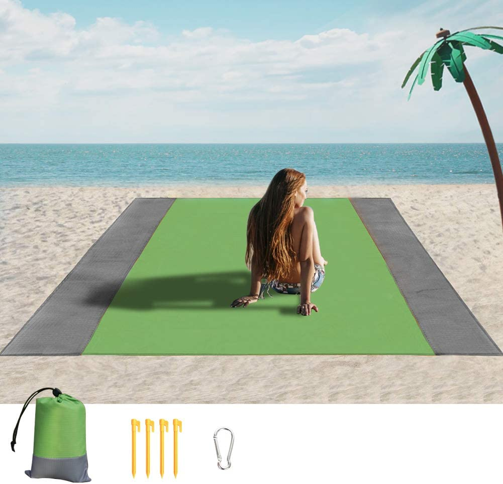 Camping Music Festival with Bag Sand Free Beach Blanket Outdoor Waterproof Large Beach Mat Sandproof Picnic Blankets for 3-7 Adults Travel 83/'/' X 79/'/' Hiking
