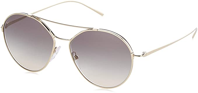 89a8e78d27fd Amazon.com: Prada Women's Round Aviator Sunglasses, Pale Gold/Grey ...