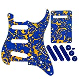 FLEOR Set of 11 Holes Electric Guitar Pickguard Strat Style SSS Back Plate in Blue Color 50/52/52mm Pickup Covers 2T1V Knobs Tip for Strats Style Guitar Replacement, 3Ply Blue+Yellow Shell, w/Screws
