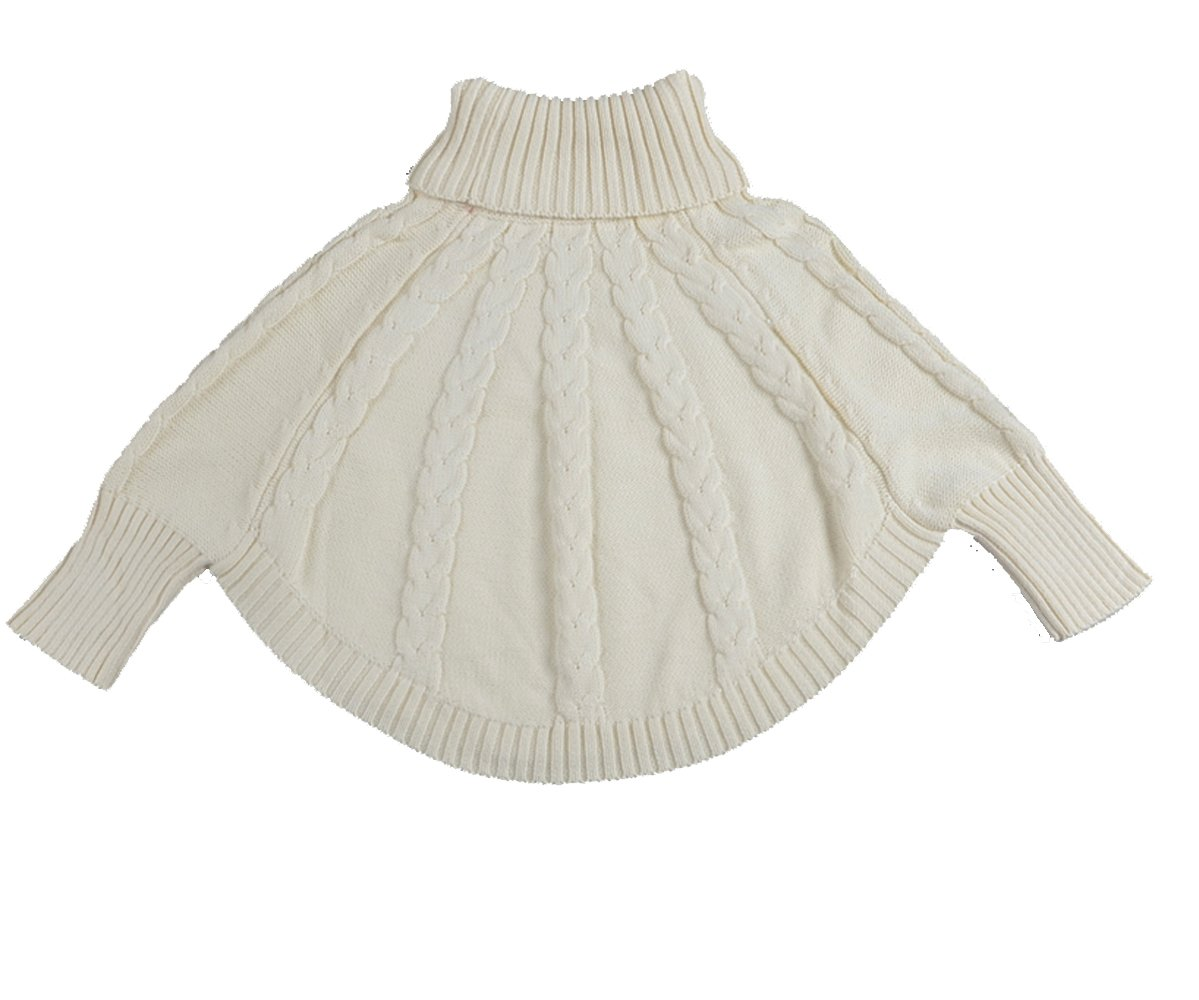 DL MYAN Kids Girls Solid Knitted Soft Turtleneck Sweaters/Poncho For 12Month-6Year (Beige 5-6T/130cm)