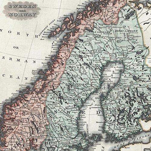 Sweden Norway Scandinavia 1844 Walker antique hand color map lovely example