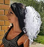 Bachelorette party Veil. White with silver Luxury. Las Vegas style veil Exclusive Very lush veil Bride veil, wedding veil, hens party veil