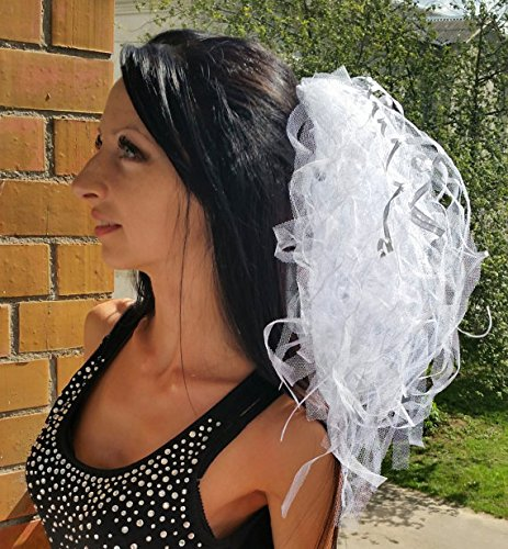 Bachelorette party Veil. White with silver Luxury. Las Vegas style veil Exclusive Very lush veil Bride veil, wedding veil, hens party veil by Julsera Boutique