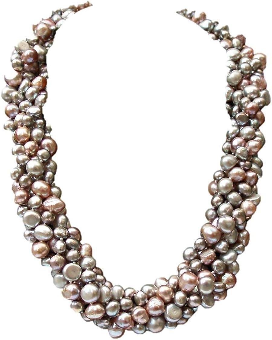Collar 'Louisa' de seis vueltas con impresionantes perlas barrocas lila/gris/rosa cultivadas de agua dulce con broche grande en plata