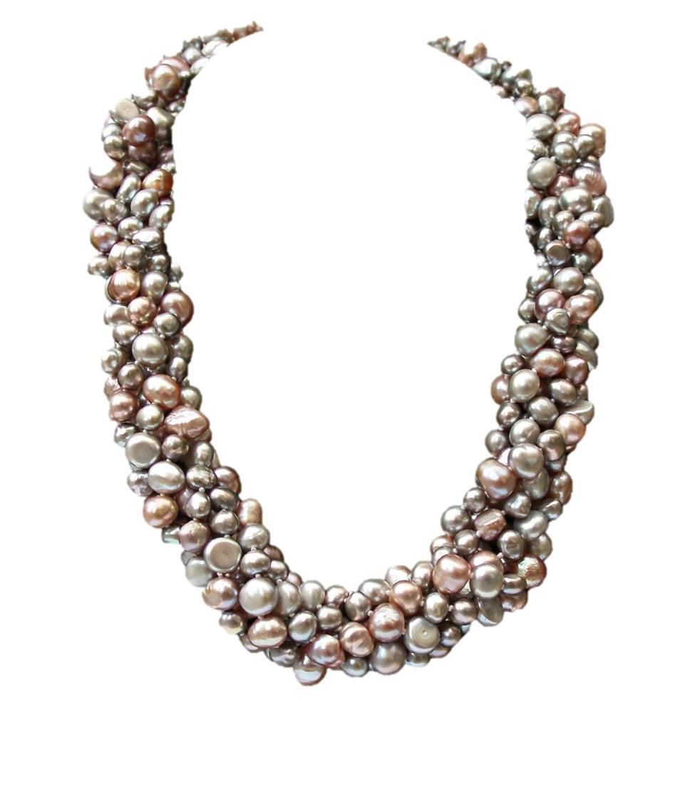 Striking Lilac/Silver Grey/Pink Baroque Cultured Pearl Six Strand Chunky 'Louisa' Necklace With Silver Clasp