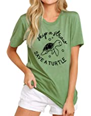 YNALIY Skip A Straw Save A Turtle T-Shirt Women Turtle Graphic Tops Short Sleeve Blouse