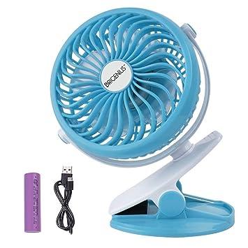 Blue Clip On Fan Personal USB Mini Desk Fan Clip Fan For Baby Stroller Pushchair Travel Car Gym Portable Stroller Pram Fan Rechargeable Battery Operated With 3 Speeds Settings//Soft Night Light