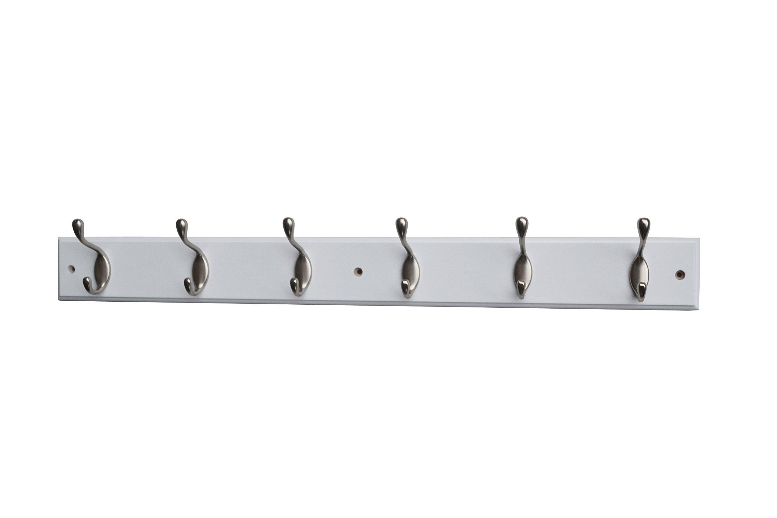 Mascot Hardware HR001-6/SN-WH Hook Rail, White