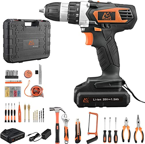Cordless Drill, Power Drill Driver 20V with 2×1.5Ah Batteries, Fast Charger 1.3A, 57Pcs Accessories, 18 1 Torque Setting, 2-Variable Speed Max Torque 250 In-lbs, 3 8 Keyless Chuck