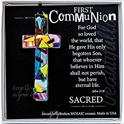 First Communion John 3:16 Mosaic Handmade Glass Cross