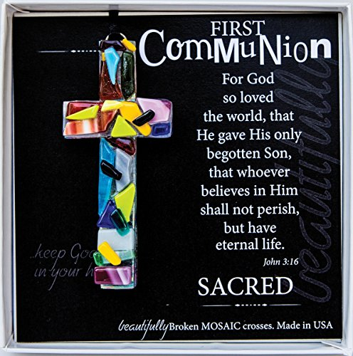 First Communion John 3:16 Mosaic Handmade Glass Cross (Boy First Communion Cross)