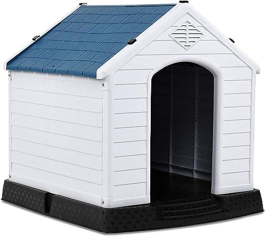 COSTWAY Casa para Perros de Plástico 70x65x71,5 centímetros para Jardín Interior y Exterior Caseta para Perro con Suelo Elevado: Amazon.es: Productos para mascotas