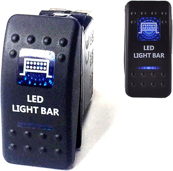 Qiorange Dc 12v 24v Auto Kfz Blau Led Lichtleiste Beleuchtet Wippenschalter Kippschalter Auto Armaturenbrett Schalter Bar Light Blau Led Light Bar Auto
