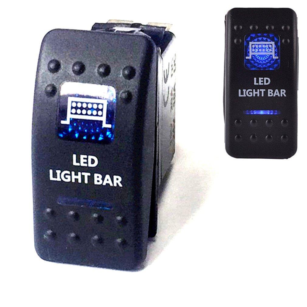 Qiorange 12V//24V LED Interrupteur a Bascule ON-OFF SPST Rocker Etanche pour Voiture Bateau-LED Light Bar Bleu LED LIGHT BAR