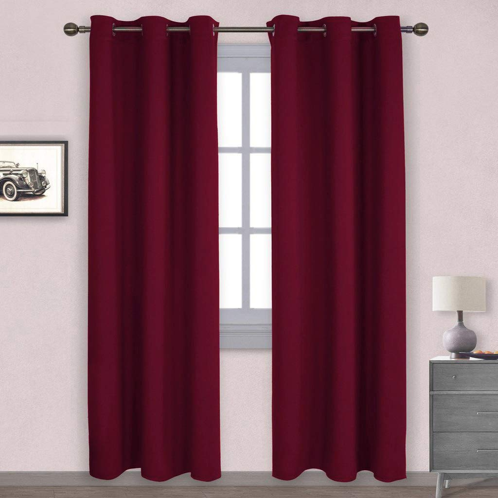 NICETOWN Home Decorations Thermal Insulated Solid Grommet Top Blackout Living Room Curtains/Drapes for Christmas & Thanksgiving Gift (One Pair,42 x 84-Inch,Red)