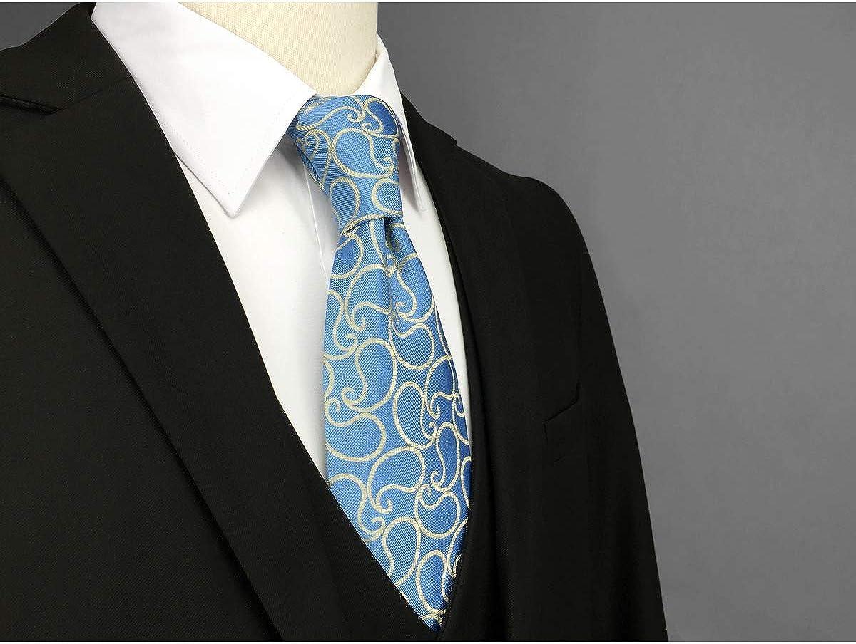 SHLAX/&WING Mens Necktie Ties Paisley Silk Slate Blue Light Yellow New