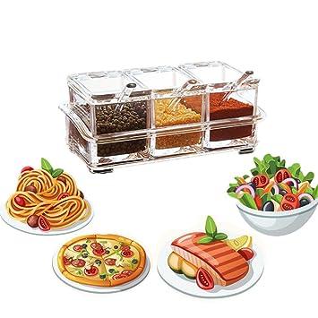 riohouse condimento contenedor de almacenamiento - acrílico condimento Caja - Dispensador de especias - salero y pimentero con tapa y cuchara 3 Pcs: ...