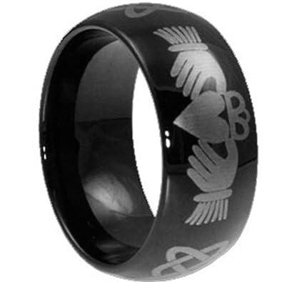 Amazon.com: Jude joyeros negro corazón de acero inoxidable ...