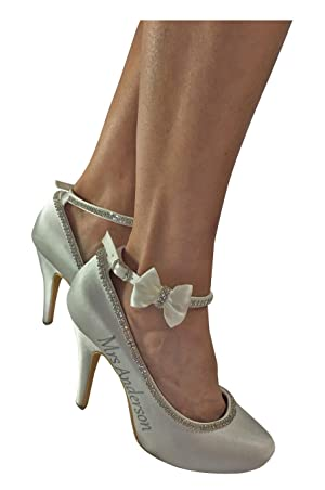 Silver and Ivory Bow Bridal High Heels, Strap Rhinestone 4 inch Mrs Last Name