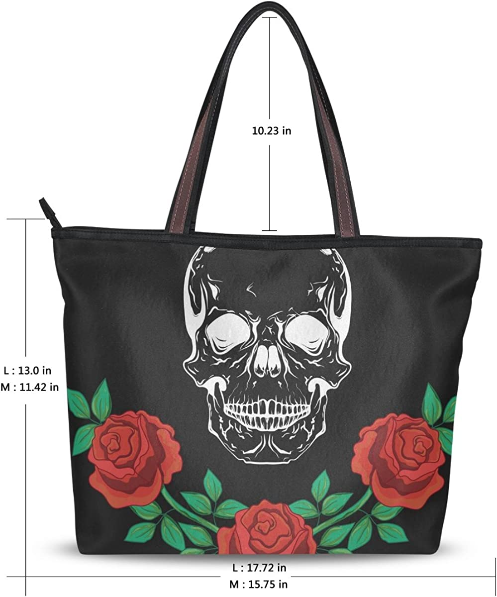 JSTEL Women Large Tote Top Handle Shoulder Bags Skull And Roses 909 Patern Ladies Handbag