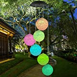 Topspeeder Color Changing Solar Power Wind Chime Spiral Spinner Crystal Ball Wind Mobile Portable Waterproof Outdoor Decorative Romantic Wind Bell Light for Patio Yard Garden Home (Black Solar Panel)