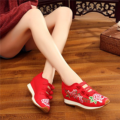 Sneakers Wedge Shoes Flats Walking Students Ladies Shoes Red Womens Fanwer Embroidery Traveling 0qFzxvg