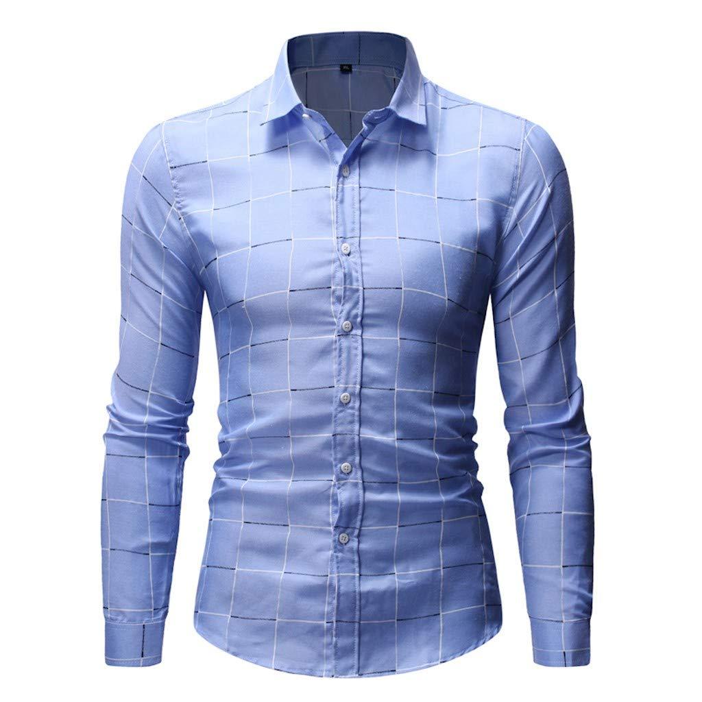 Long Sleeve Shirt 2019 Beautyfine Men Splicing Lattice Chequered Fashion Blouse Top