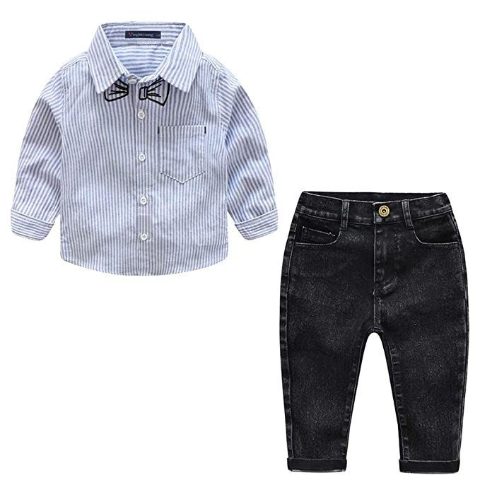 Clothing Sets Mal Baby Boys Tops Outfits Long New Gentleman Suit 2pcs Cotton Shirt+pants Striped Sleeve